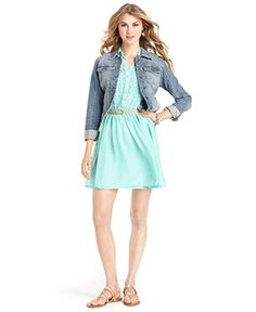 American Rag Juniors Dress, Sleeveless Belted Lace - Juniors Dresses - Macy's- church