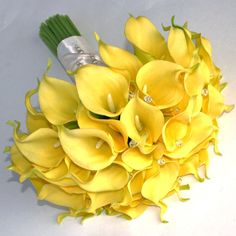Yellow Real Touch Calla Lily Bouquet with AB glass crystals