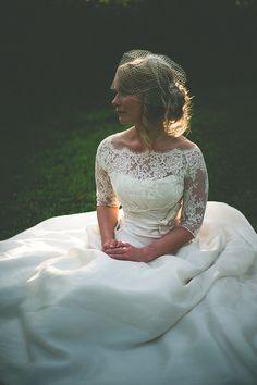 Lace neck and 3/4 sleeve wedding dress
