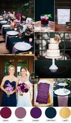 This!!!  Midnight Blue And Purple Wedding - If you're looking for the perfect royalcolour scheme for your wedding. Adash of a royal colour palette of a stunning