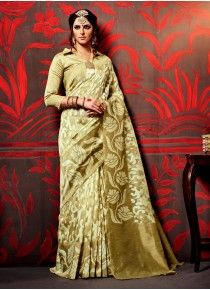 Buy online cream and beige colored silk fancy saree. This beautiful fancy saree is enriched with digital print. Shop online indian attire at lowest price. Buy Designer Sarees Online, Latest Designer Sarees, Silk Sarees Online Shopping, Saree Shopping, Fancy Sarees, Party Wear Sarees, Modern Saree, Lehenga Style, Saree Models