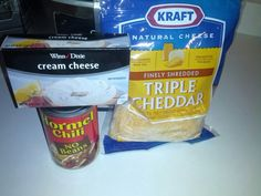 Chili cheese dip. 8oz cream cheese Can of no bean chili (I use Hormel but whatever chili brand you prefer) Shredded cheese to sprinkle on top. Turn on oven to 350. Spread cream cheese in a pan Open can of chili and pour over the top of the cream cheese, evenly. Sprinkle shredded cheese on top Bake on 350 for 20 mins (just till cheese on top is melted all the way through). Serve with scoop fritos or tortilla chips