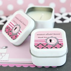 Event Blossom offers these Personalized Square Candle Tins - Wedding Shower and other unique and creative wedding favors and special event favors among its trendy product line. Elegant Wedding Favors, Candle Wedding Favors, Candle Favors, Personalized Wedding Favors, Glamorous Wedding, Bridal Shower Favors, Shower Set, Shower Party, Shower Ideas