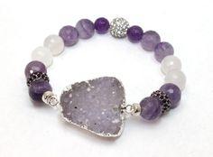 Rose Quartz, Amethyst, Crystals and Drusy Quartz Stretch Bracelet