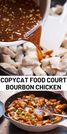 Copycat Food Court Bourbon Chicken Recipe - A copycat recipe for the bourbon chicken served at many food court Chinese restaurants. Yummy Chicken Recipes, Yum Yum Chicken, Food Court Bourbon Chicken Recipe, New Recipes For Dinner, Authentic Chinese Recipes, Asian Cooking, Copycat Recipes, Asian Recipes, French Recipes