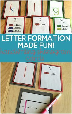 Phonogram cards to teach young kids the correct letter formation.  Preschool and kindergarten students will love these fun phonogram cards that will associate a sound with a letter stroke.  Gets young kids moving, thinking and writing!  Includes colored coded letter strokes for lower and upper case letters! Print Handwriting, Handwriting Worksheets, Handwriting Practice, Preschool Letters, Preschool Worksheets, Kindergarten Activities, Teaching Kids, Teaching Resources, Primary Teaching