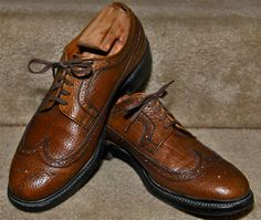 1950s Dack's Camel Hide Longwing Wingtips Mens Dress Shoes 9