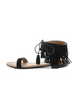 Flat rubber bottom, faux suede, laces for proper adjusting and fringes for style.   Emily Sandal by Cape Robbin. Shoes - Sandals - Flat Baltimore, Maryland