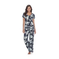 Women's SONOMA Goods for Life™ Pajamas: Lace Back Tee & Pants PJ Set, Blue