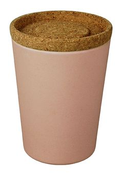 STORE & STACK, Large. Storage jar. 1000ml Design: Margriet Foolen. bamboo-fiber with cork. Lollipop Pink