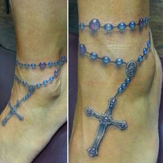 Needless to say, there are lots of Christian tattoos ideas that you can consider especially if you are a believer of Jesus Christ but not a God's son Rosary Ankle Tattoos, Ankle Tattoo Cross, Rosary Bead Tattoo, Rosary Beads, Tattoo Girls, Girl Tattoos, Foot Tattoos Girls, Armband Tattoos, Anklet Tattoos