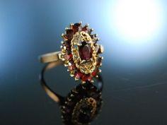 Trachten Schmuck mit Granat zur Wiesn! Charmanter Ring Silber 835 vergoldet, Granate um 1930, antique garnet ring. Granatschmuck bei Die Halsbandaffaire