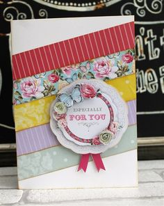 A beautiful handmade Rosette Card made with the Papermania Bellissima papercraft collection.