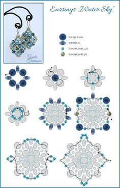 Free Beading Pattern: Water Sky Earrings by Gunta featured in Bead-Patterns.com Newsletter