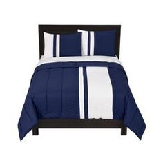 Room Essentials® Rugby Stripe Comforter Set - Blue - Myles' room? Grown-up looking comforter, but add some fun character sheets