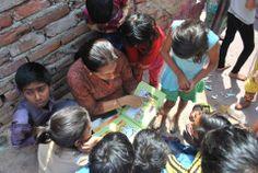 Neha reading in the community as a part of March's 'Pagdandi Reading Day'   #Reading #Books #Community #Day #India #Delhi #Joy