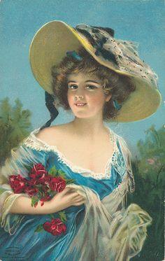 Vintage Blue Dress Lady