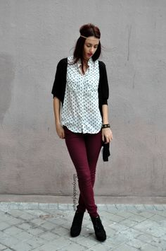 without headband. polka dot top with black cardigan and maroon pants