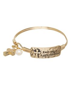 Look at this #zulilyfind! Goldtone 'Each Day is a Gift' Charm Hook Bracelet #zulilyfinds