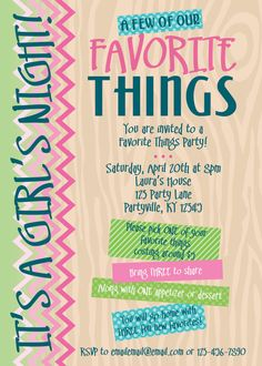 Favorite Things Party Invitations. Printable by CreativeStationery