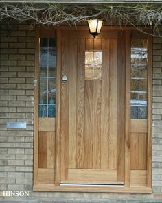 First impressions count and what better way to impress than with a bespoke hand crafted, wooden front door. Hardwood Front Doors, Oak Front Door, Front Doors With Windows, Wooden Front Doors, Cottage Front Doors, House Front Porch, Front Porch Design, Traditional Front Doors, Contemporary Front Doors