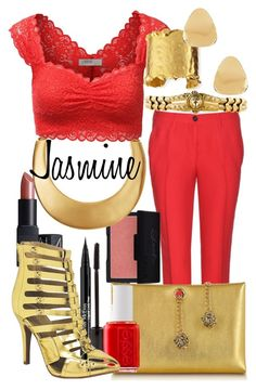 """Slave Jasmine"" by elliej116 ❤ liked on Polyvore featuring Miu Miu, Judith Leiber, TheBalm, Roberto Cavalli, Kenneth Jay Lane, Essie, J.TOMSON, Trish McEvoy, NARS Cosmetics and Devon Leigh"