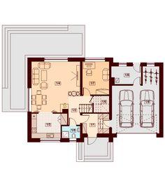 DOM.PL™ - Projekt domu DN Lisandra 2M CE - DOM PC1-60 - gotowy koszt budowy Micro House, My House, House Plans, Floor Plans, Exterior, How To Plan, Modern, Country Houses, Orange