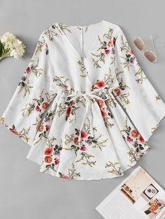 Floral Print Surplice Drawstring Waist DressFor Women-romwe - My CMS Stylish Dresses, Stylish Outfits, Cute Dresses, Casual Dresses, Fashion Dresses, Party Dresses, Floral Blouse Outfit, Mode Abaya, Only Shirt