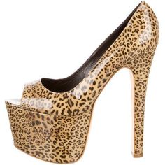 Pre-owned Brian Atwood Peep-Toe Platform Pumps ($175) ❤ liked on Polyvore featuring shoes, pumps, animal print, peep toe platform pumps, patent platform pumps, peep toe pumps, peep-toe pumps and leopard print shoes