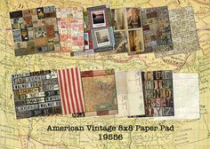 19556 Am Vintage 8x8 paperpad - vintage travel scrapbook papers - America theme 7gypsies Travel Scrapbook, Scrapbook Paper, Creative Studio, Vintage Travel, Shopping Lists, Us Travel, Cha Cha, Grocery Lists