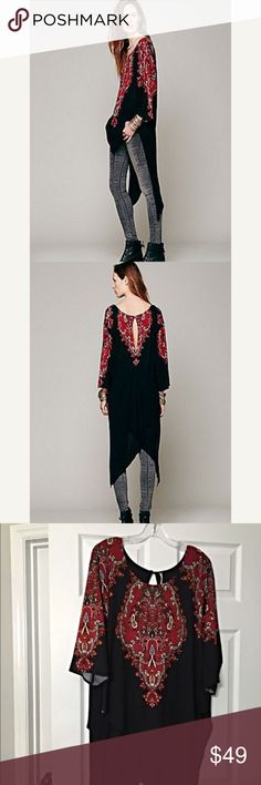 Free People Magic Carpet Tunic! Impossible to find Stunning long line Tunic with asymmetric hemline - oversized fit! Mint condition Free People Tops Tunics