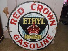 Vintage Sign Red Crown Ethyl General Motors Product Double Sided Porcelain #RedCrown