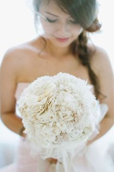 tattered fabric bouquet | http://www.mywedding.com/articles/fabric-and-paper-wedding-flowers/