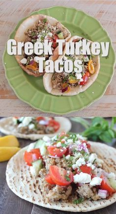 Easy Greek Turkey Tacos The Best Greek Turkey Taco Recipe combines Greek spiced ground turkey with an easy cucumber tomato salsa and feta cheese in warm pita bread for a delicious, quick and healthy dinner, made in just 29 minutes! Healthy Turkey Recipes, Ground Turkey Recipes, Greek Spices, Ground Turkey Tacos, Ground Meat, Nutella, Greek Pita, Broccoli, Greek Dinners