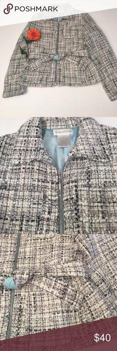 Gray Boucle Jacket Gray with Tiffany blue accents and lining. Looks cute zipped up with belt or open. This is a sophisticated Jacket. May have some stray fuzzy but for the most part in great condition! 62% acrylic, 17% wool, 16% polyester, 5% other fiber. Worthington Jackets & Coats Blazers