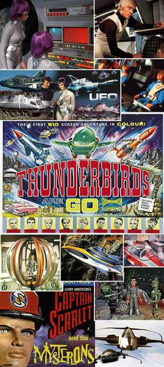 Gerry Anderson collage -- love it because it doesn't have Space 1999 on it. Joe 90, Ufo Tv Series, Thunderbirds Are Go, Sci Fi Comics, Cult, Kids Tv, Old Tv Shows, The Old Days, Classic Tv