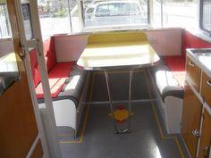 Interior of 60s Australian Roadmaster Luxury Liner. Vintage Caravan Grand Parade -