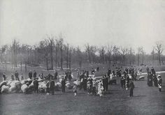 New York Minus 100 Years - Amazing Photos!| Children and adults with herd of sheep in the Sheep Meadow in Central Park, NYC, Ca 1900-1910.