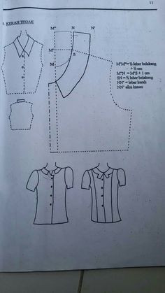 collar Dress Sewing Patterns, Sewing Patterns Free, Clothing Patterns, Bodice Pattern, Collar Pattern, Pattern Cutting, Pattern Making, Sewing Clothes, Diy Clothes
