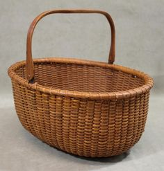 Antique Authentic MITCHELL MITCHY RAY Oval Nantucket Splint Basket, Swing Handle #MITCHELLMITCHYRAY