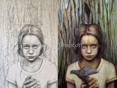 Graphite drawing vs. full-color painting of Kierra by Michael Shapcott