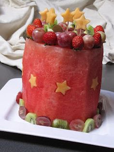 More cake made of fruit! (Genius!) Would people think we were weird if we had this at a birthday party?