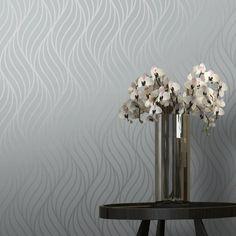 Shimmer Indulge Wallpaper Grey, Silver - Wallpaper from I Love Wallpaper UK Hallway Wallpaper, Metallic Wallpaper, Grey Wallpaper, Retro Wallpaper, Bathroom Wallpaper, Wallpaper Ideas, Silver And Grey Bedroom, Modern Floating Shelves, Modern Wall Decals
