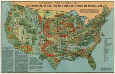 1922 Armour's Food Source Map of America #map #usa #food