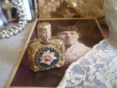 Pretty Vintage Petit Point Filigree Miniature Scent Bottle #z