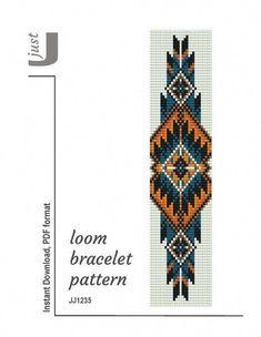 Bead loom pattern, native american bracelet, loom bracelet p Beading Patterns Free, Seed Bead Patterns, Beaded Jewelry Patterns, Weaving Patterns, Embroidery Patterns, Beading Ideas, Bead Jewelry, Knitting Patterns, Cuff Jewelry