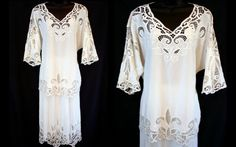 Vintage Embroidered Lace Open Cutwork White Midi by DazzleMyDay, on Etsy