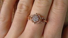 14KT Rose Gold Cartier Inspired Compass Pave Round Diamond 0.35ctw Band Ring Size 7. $2,799.00, via Etsy.