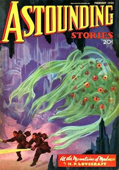 """Cover of Astounding Stories featuring part one of H.P. Lovecraft's """"At the Mountains of Madness"""" (February 1936)"""