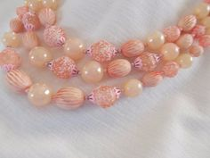 1 of 11: Vintage 1950's Estate Pink White 3 Strand Molded Lucite Beaded Necklace